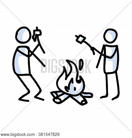 Hand Drawn Stickman Roasting Marshmallows Concept. Simple Outdoor Vacation Doodle Icon For Staycatio