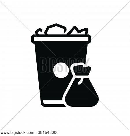 Black Solid Icon For Garbage Trash-can Trash Can Waste Basket Container Junk Debris Detritus Rubbish