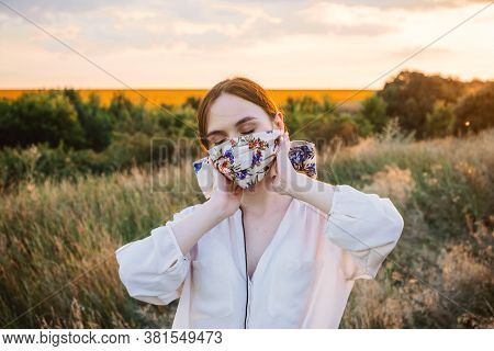 Statement Masks, Blinged Out Diy Flower Face Mask Design. Girl In Face Mask Decorated With Flowers O