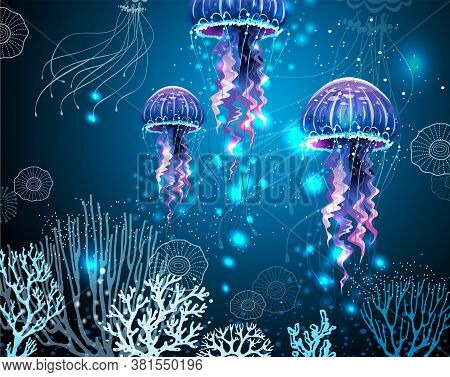 Background With Glowing Vivid Transparent Jellyfishes Vector Background