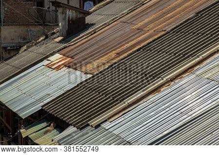 The Old Galvanized Roof And Old Chimney Roof On House, Old Metal Sheet Roof Texture, Rusty Metal She