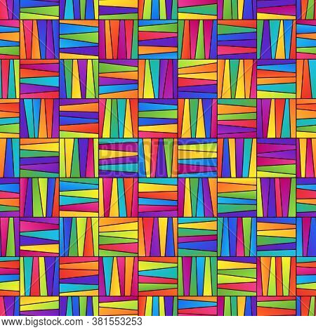 Bright Colorful Seamless Pattern Of Gradient Striped Squares For Children's Stuffs And Products. Mot