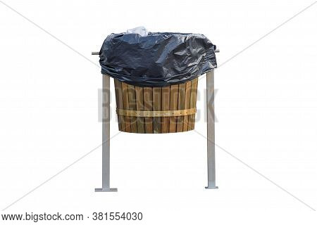 Wooden Trash Bin Isolated On A White Background