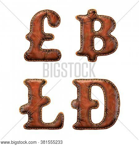 Set of symbols lira, baht, litecoin, dashcoin made of leather. 3D render font with skin texture isolated on white background. 3d rendering