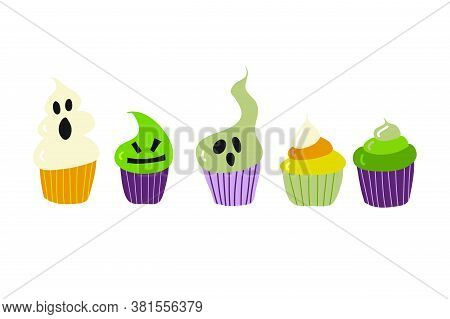 Cute Cupcakes With Halloween Decorations And Fillings. Muffins And Baked Sweets For The Childrens Pa