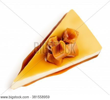 Caramel Cheesecake Pie With Caramel Sauce Isolated On A White Background Close Up. Top View. Flat La
