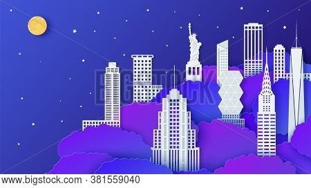 New York City Landmark In Night Time In Paper Cut Style. 3d Vector Neon Blue Tree Crowns And White H