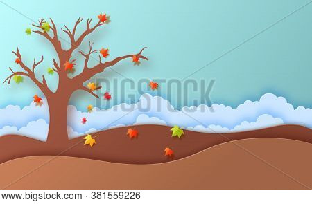 Autumn Season Fall Leaves And Cloudy Landscape In Paper Art Style. In Autumn Time, Silhouette Tree A