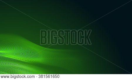 Dot Green Wave Light Screen Gradient Texture Dark Background. Abstract  Technology Big Data Digital