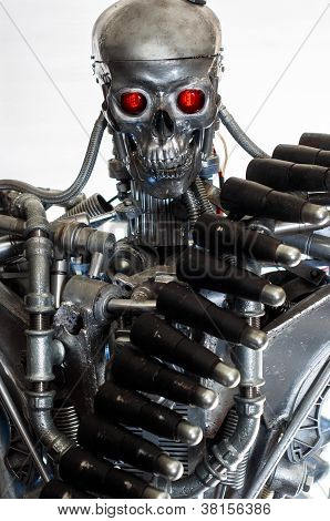 poster of Conceptual photo of a war machine against white background