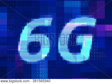 6g Network Internet Mobile Icon Technology Blue Background. Abstract Digital Machine Learning With D