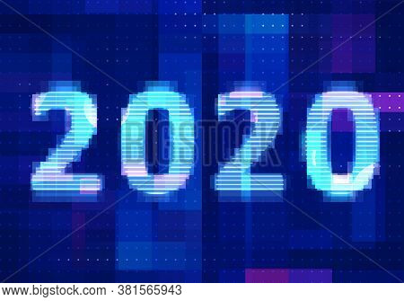 2020 Vision New Year With Technology Blue Background. Abstract Digital Machine Learning With Digital