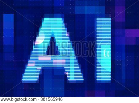 Artificial Intelligence Icon Ai Technology Blue Background. Abstract Digital Machine Learning With D