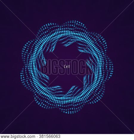 Geometric Or Organic Object Consists Of The Dots Element. Vector Illustration For Technological, Bio