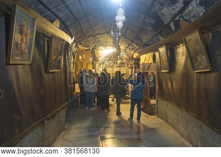 Bethlehem, Palestine - January 28, 2020: The Traditional Site Of The Birth Of Jesus In Bethlehem's C