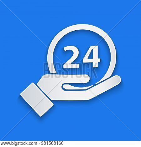 Paper Cut Clock 24 Hours Icon Isolated On Blue Background. All Day Cyclic Icon. 24 Hours Service Sym