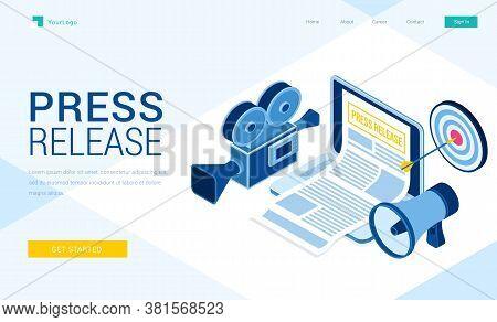Press Release Banner. Concept Of Online News, Digital Media Service. Vector Landing Page Of Internet
