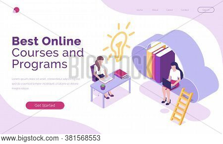 Online Courses And Programs Isometric Landing Page, Students Or Business People Studying Via Interne