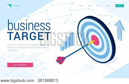 Business Target Banner. Concept Of Work Strategy, Company Goal And Focus. Vector Landing Page Of Bus