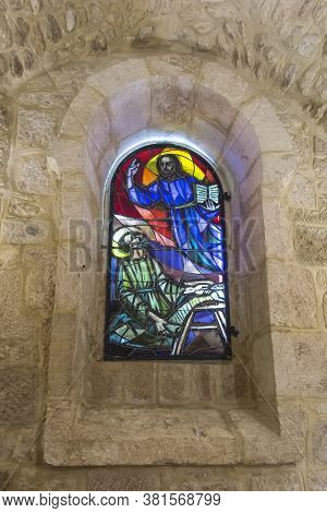 Bethlehem, Palestine, January 28, 2020: Caves Under The Basilica Of The Nativity In Bethlehem. Stain