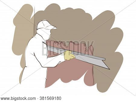 Builder Using Plastering Tool For Finishing Wall. Spinning And Splashing Water Steps To Harden And S