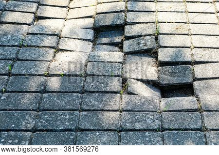 Defective Cobblestone Pavement Due To Incorrectly Prepared Base