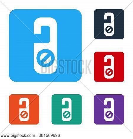 White Please Do Not Disturb Icon Isolated On White Background. Hotel Door Hanger Tags. Set Icons In