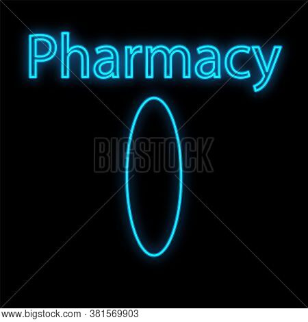 Bright Luminous Blue Medical Digital Neon Sign For A Pharmacy Or Hospital Store Beautiful Shiny With