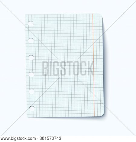 A Draft Sheet Of Paper From A Workbook. A Piece Of Squared Graph Paper. Blank Quadrille Ruled Sheet