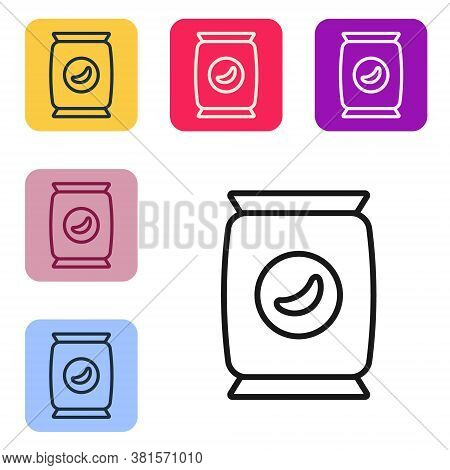 Black Line Bag Or Packet Potato Chips Icon Isolated On White Background. Set Icons In Color Square B