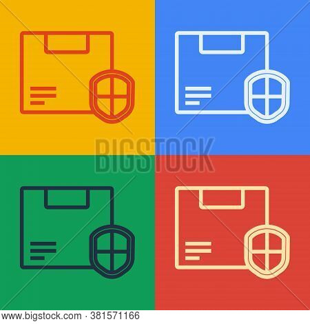 Pop Art Line Delivery Security With Shield Icon Isolated On Color Background. Delivery Insurance. In