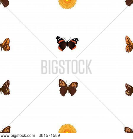 Seamless Repetition Of Brown And Black Butterflies And Yellow Rosette; Eps 10 For Textile Prints; Bu