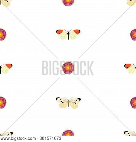 Simple Repetitive Seamless Pattern With European Cabbage Buuterfly And Pink Rosette Eps 10; Pattern