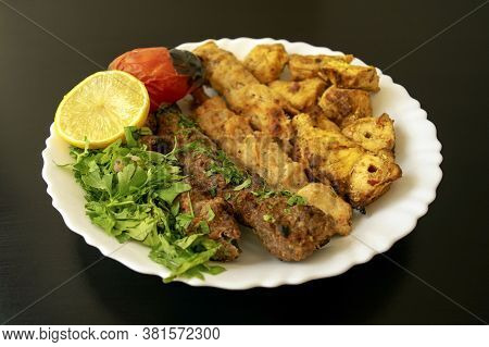Famous Traditional Arabic, Turkish, Israel Food. Grilled Chicken Shashlik, Lamb, Beef Kofta Kebab, V