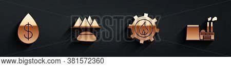Set Oil Drop With Dollar, Oilfield, Oil Industrial Factory Building And Oil Industrial Factory Build