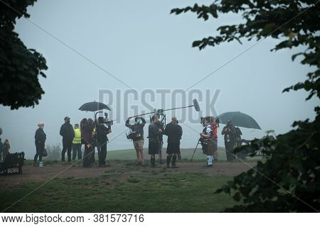 August 18, 2020. A Production With Scottish Musical Orchestra  Is Filmed On Calton Hill In Edinburgh
