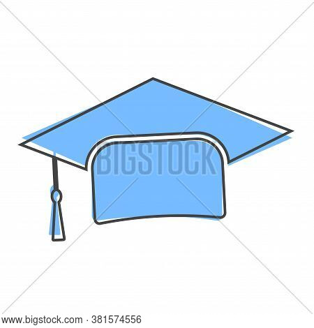 Graduation Cap Vector Icon. Hight School Symbol Cartoon Style On White Isolated Background.