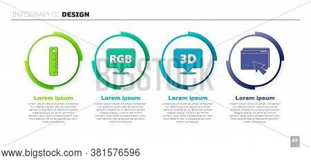 Set Ruler, Speech Bubble With Rgb And Cmyk, Speech Bubble With Text 3d And Web Design And Developmen