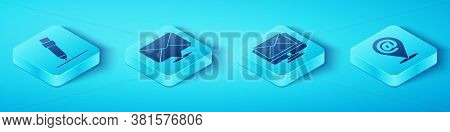 Set Isometric Pencil With Eraser, Envelope, Location And Mail And E-mail And Monitor And Envelope Ic