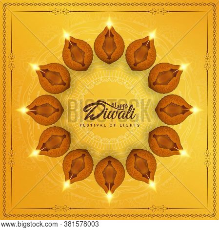 Abstract Elegant Happy Diwali Religious Background Vector Design Illustration