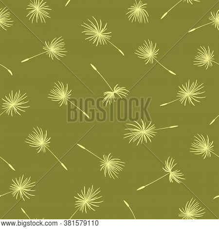 Seamless Pattern With Flying Dandelion Seeds. Floral Texture. Spring Dandelions On A Green Backgroun