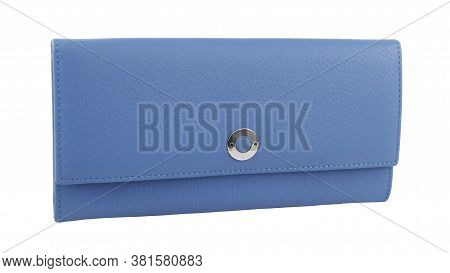 New Light Blue Of Genuine Cattle Leather. Without Shadows. Isolated On White Background. Close-up Sh