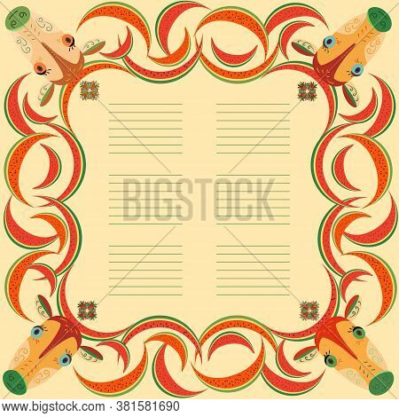 Colorful Frame With Cartoon Cows And Watermelons. Border With Watermelons And Cow For Children's Men