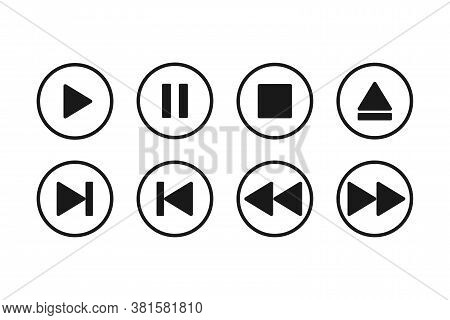 Audio And Video Media Player Buttons. Play And Stop Multimedia Icon. Rewind And Pause Controller. Tr