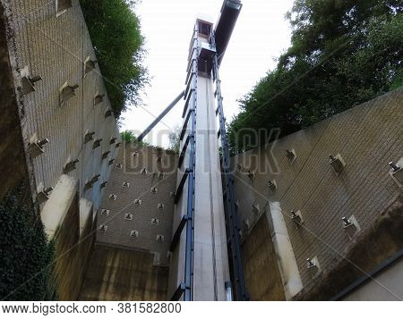 Pfaffenthal, Luxembourg, Luxembourg - August 15, 2020. 60m High Passenger Lift Is Part Of Luxembourg