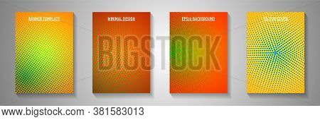 Colorful Dot Screen Tone Gradation Front Page Templates Vector Series. Corporate Flyer Faded Screen