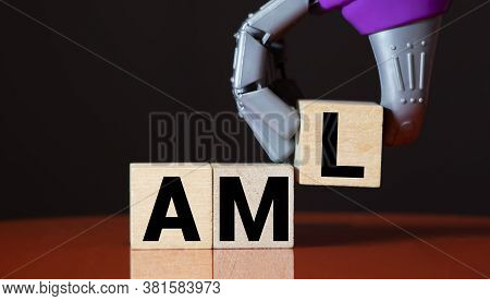 Money Laundering Concept, Wooden Word Block Aml On Plie Of Coins