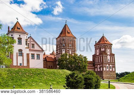 Mir, Belarus. Medieval Castle On A Background Of Blue Sky. Summer Landscape, Ancient Architecture, P
