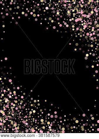 Pink Gold Confetti Circle Decoration For Christmas Card. Bokeh Lights Effect Vector. Gold, Pink And