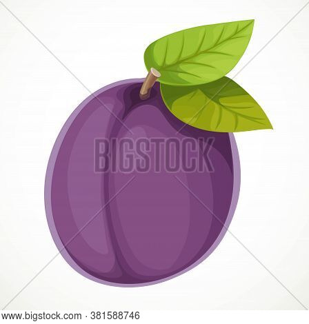 Purple Plum With Leaves Isolated On White Background
